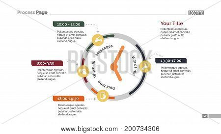 Clock infographic diagram. Presentation element, timeline chart, flowchart. Concept for infographics, business templates, reports. Can be used for topics like strategy, flowchart, marketing