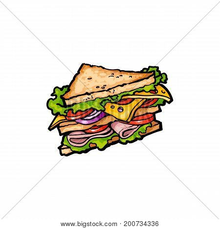 Vector sketch sandwich with vegetables. Fast food flat cartoon isolated illustration on a white background. Triangular fresh sandwich with cheese, tomato and salad