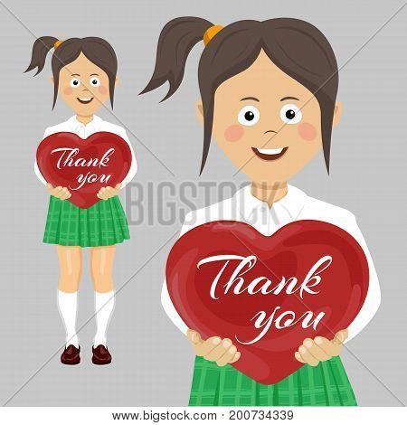 School teenager girl holding a red heart with thank you text