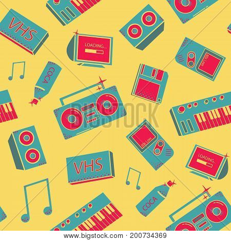 Seamless pattern with old school things. background with synthesizers, tape recorder, phone and other elements