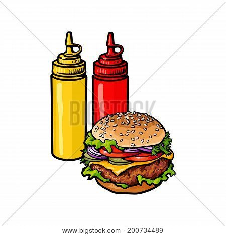 Vector burger sketch hand drawn with mustard sauce, ketchup squeeze bottles set. isolated illustration on a white background. Tasty fresh fastfood chickenburger, cheesburger with vegetables.