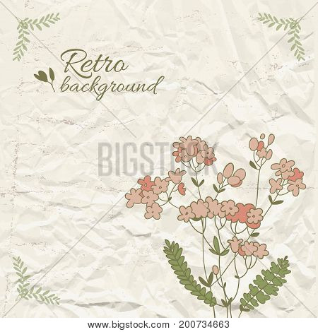 Retro floral template with place for text red flower green leaves on wrinkled paper vector illustration