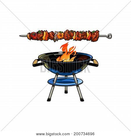 Round barbecue, BBQ charcoal grill with burning flame, sketch style vector illustration on white background. Realistic hand drawing of burning BBQ charcoal grill with fire inside