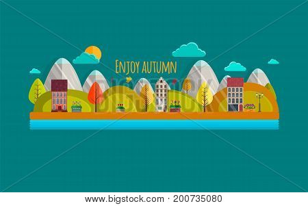 Autumn. Vector Illustration, Eps10. Autumn Park With Yellow And Orange Trees, Cute Houses, Sun, Rive
