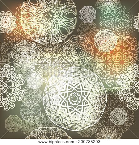 Ornate Floral Seamless Texture, Endless Pattern With Glowing Bright Mandala Elements