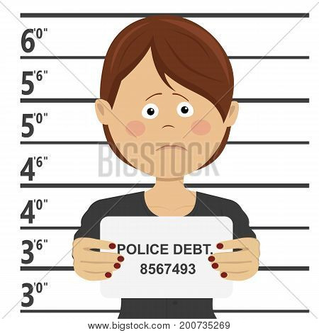 Business woman posing for mugshot holding a signboard with police debt text