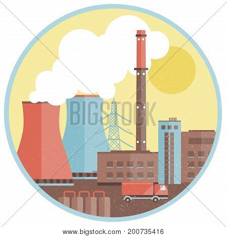 Production factory template with buildings smoke chimney truck harmful emissions in circle isolated vector illustration