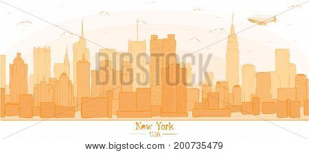 New York city banner panorama buildings landmarks day skyline silhouette vector illustration. Cityscape orange color Line art USA nyc modern flat panorama for project design web banner travel poster
