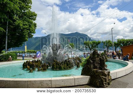 The Wonderful Fountain In Lugano Directly By His The Lake