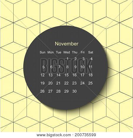 2017 November calendar. Modern creative geometric minimal yellow background. Scandinavian style and trendy colors. Poster design.