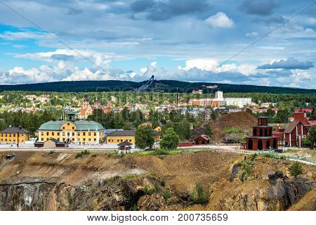 View of the Swedish mining town Falun. Home of the largest copper mine in Sweden. Today a museum.