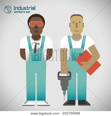Set of industrial workmen in uniform with tools on white background with grey shade isolated vector illustration
