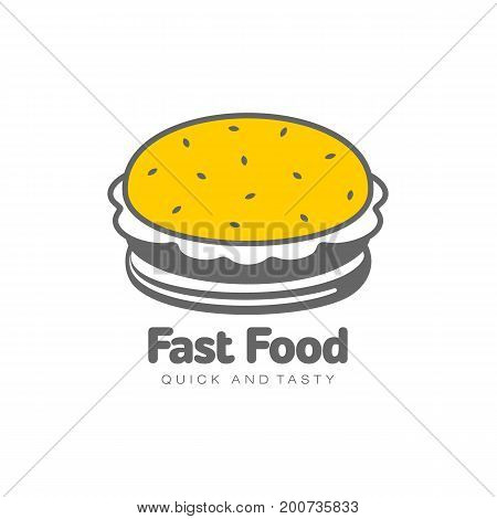 Vector burger flat isolated illustration on a white background. Tasty fresh fastfood chickenburger, cheesburger with vegetables. Sandwich burger in simple line style icon