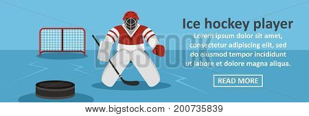 Ice hockey player banner horizontal concept. Flat illustration of ice hockey player banner horizontal vector concept for web
