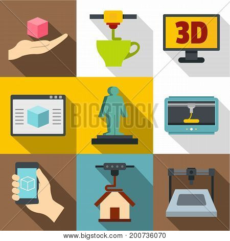 3D printer icons set. Flat set of 9 3d printer vector icons for web with long shadow