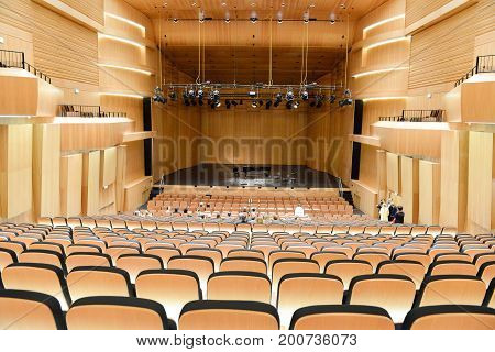 Modern Concert Hall With Piano On The Center Stage