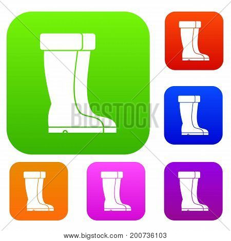 Winter shoes set icon in different colors isolated vector illustration. Premium collection