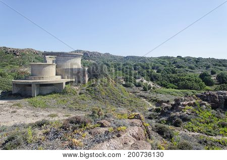 View of World War Two bunkers in Sardinia