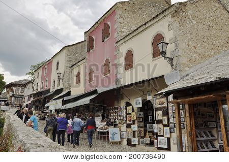 Bosnia and Herzegovina Mostar - June 1 2014: shopping arcades on the street in Mostar