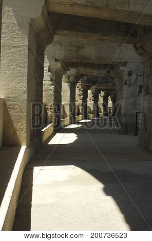 View of the interior of the Arles amphitheatre