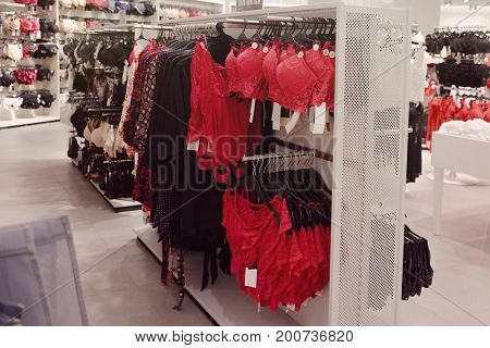 Different luxury underwear in clothes shop