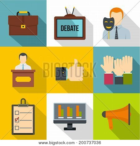 Debate icons set. Flat set of 9 debate vector icons for web with long shadow