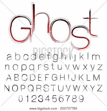 Bloody ghost hand written vector font brush stroke alphabet grunge style
