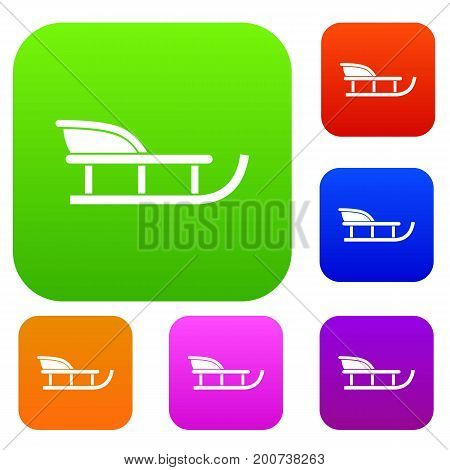 Sled set icon in different colors isolated vector illustration. Premium collection