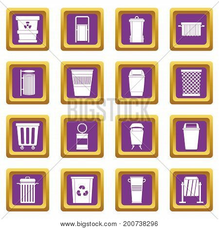 Garbage container icons set in purple color isolated vector illustration for web and any design