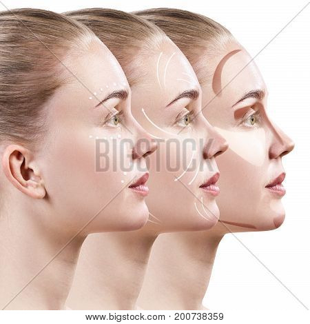 Young woman step by step improves her skin condition. Skin care concept.