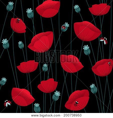 Floral seamless pattern with poppy flowers on black background with ladybugs. Stock vector endless backdrop.