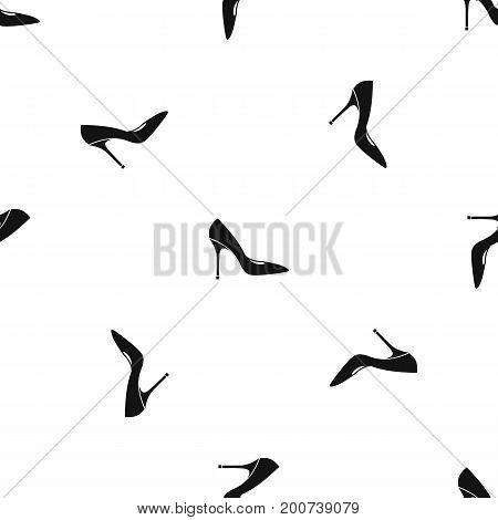 Women shoe with high heels pattern repeat seamless in black color for any design. Vector geometric illustration