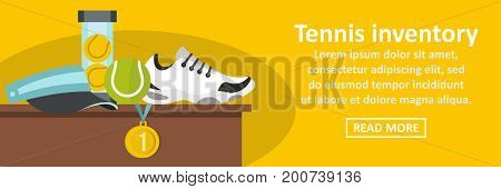 Tennis inventory banner horizontal concept. Flat illustration of tennis inventory banner horizontal vector concept for web