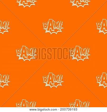 BAM, comic book bubble pattern repeat seamless in orange color for any design. Vector geometric illustration