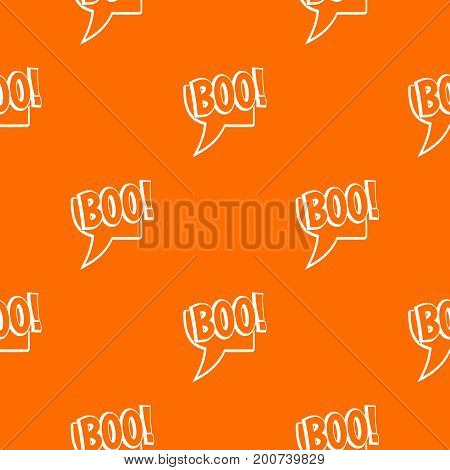 BOO, comic text speech bubble pattern repeat seamless in orange color for any design. Vector geometric illustration