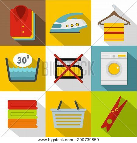 Washing icons set. Flat set of 9 washing vector icons for web with long shadow