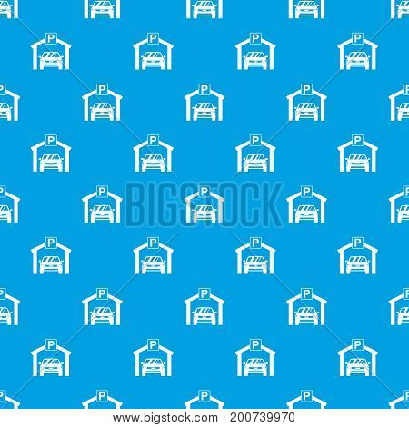Car parking pattern repeat seamless in blue color for any design. Vector geometric illustration
