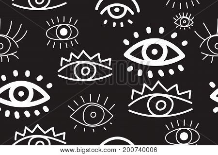 Hand drawn monochrome doodles collection eyes on black background. Seamless pattern with eyes. Vector illustration