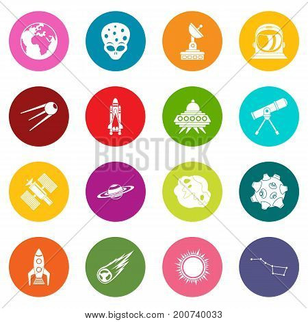 Space icons many colors set isolated on white for digital marketing
