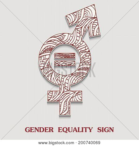 Symbol of Gender Equality is Sexual Equity Sign with a pattern in tribal Indian style. Vector illustration
