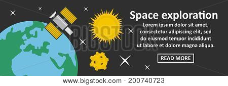 Space exploration banner horizontal concept. Flat illustration of space exploration banner horizontal vector concept for web