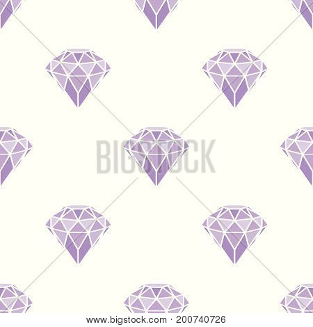 Seamless pattern of geometric purple pink diamonds on white background. Trendy hipster crystals design. Vector illustration.