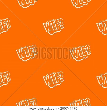WTF, comic book bubble text pattern repeat seamless in orange color for any design. Vector geometric illustration