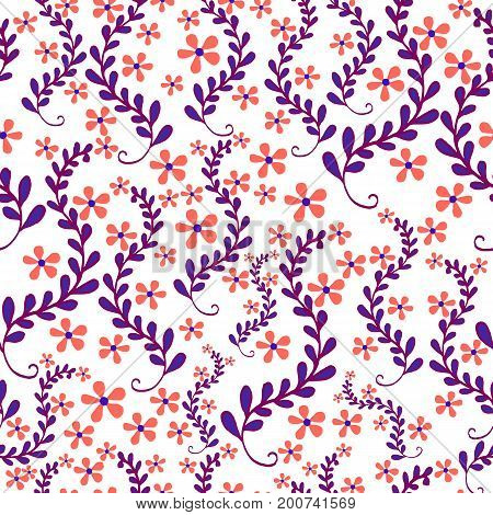 Floral seamless pattern beautiful field of small flowers in foliage pastel color on white background. Vector hand drawn illustration.