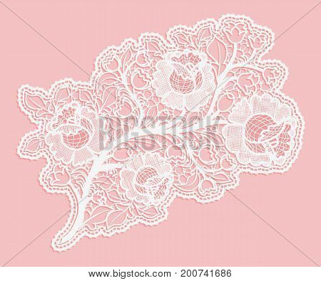 Delicate bouquet of roses on a pink background. Lace single element to decorate cards and invitations. Vector illustration.