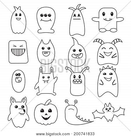 Big set of funny Halloween doodle monsters. Different bacteria, beasts, wolf, pumpkin, bat illustration. Can be used for coloring page, sticker, invitations and cards.