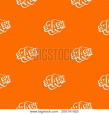 SMASH, comic book bubble text pattern repeat seamless in orange color for any design. Vector geometric illustration