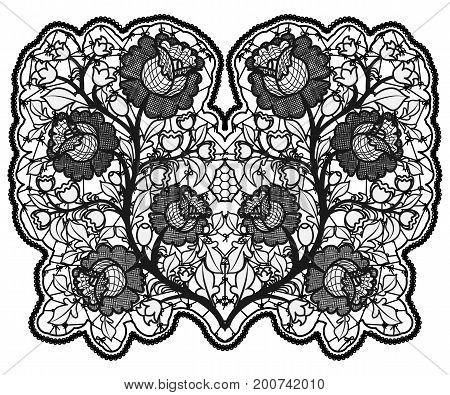 Openwork bouquet of roses on white background. Lace a single element to decorate cards and invitations. Vector illustration.