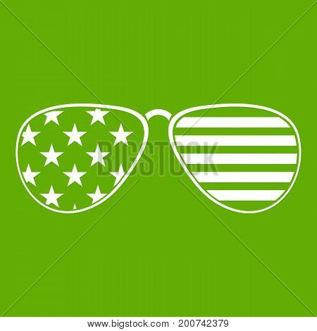 American glasses icon white isolated on green background. Vector illustration