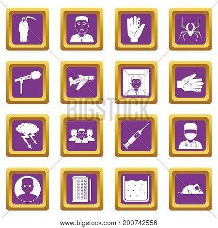 Phobia symbols icons set in purple color isolated vector illustration for web and any design